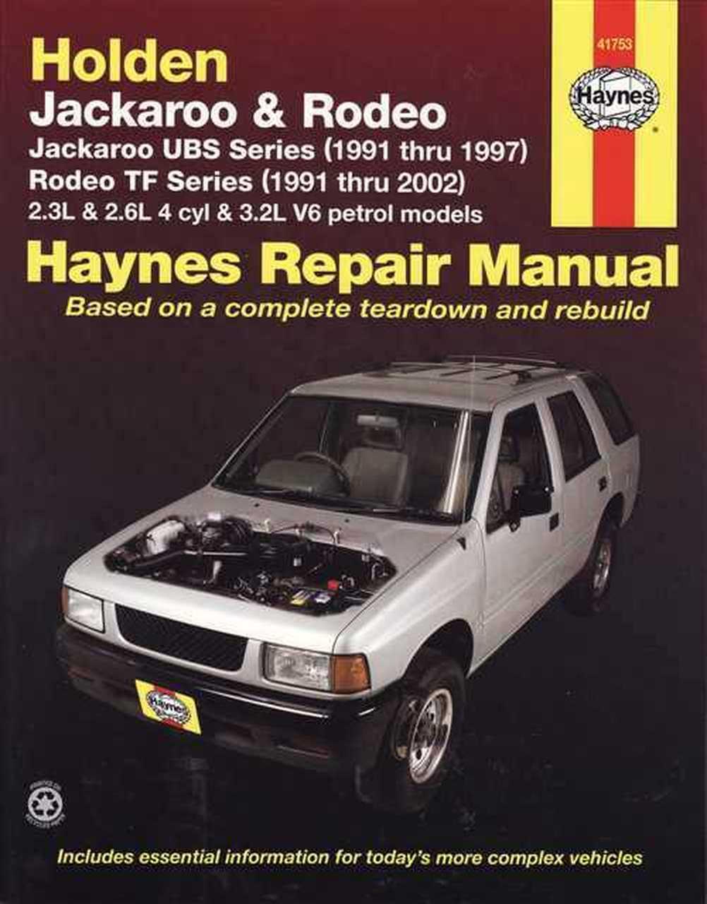 Holden Jackaroo 1991 1997 Rodeo 1991 2002 Haynes Service Repair Manual Instruction Manual