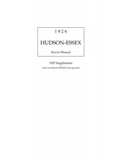 download 1926 Hudson Essex workshop manual