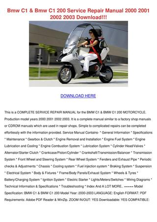 download BMW C1 C1 200 Motorcycle Manual Manual able workshop manual