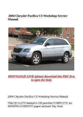 download Chrysler CS Pacifica workshop manual