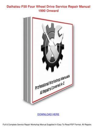 download DAIHATSU FOURTRAK SPORTRAK workshop manual