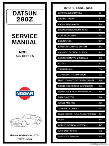 download DATSUN 260Z workshop manual