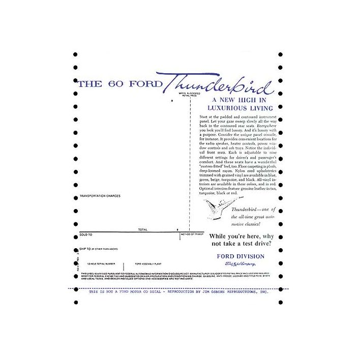 download Ford Thunderbird Window Price Sticker Car workshop manual