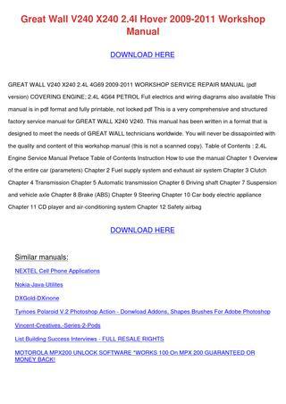 download Great Wall V240 X240 2.4L Hover workshop manual