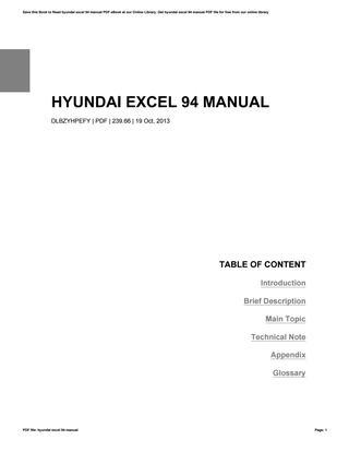 download Hyundai Excel able workshop manual