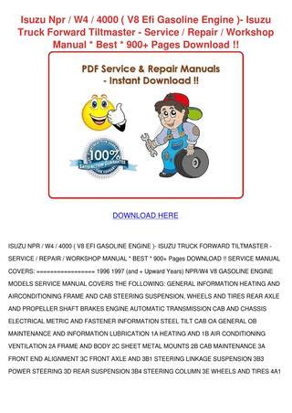 download ISUZU FORWARD 4000 W4 Engine workshop manual