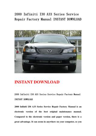 download Infinity I30 A33 workshop manual