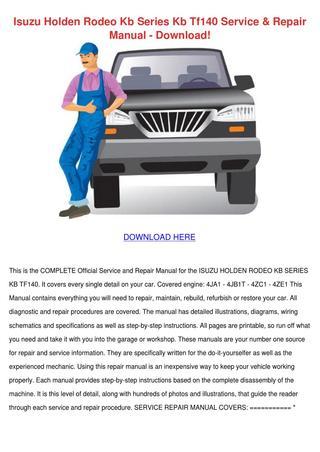 download Isuzu Holden Rodeo KB Series KB TF 140 workshop manual