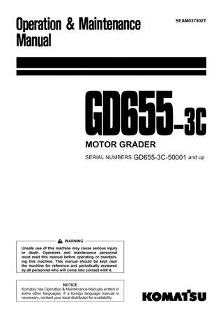 download Komatsu GD655 3C Motor Grader able workshop manual