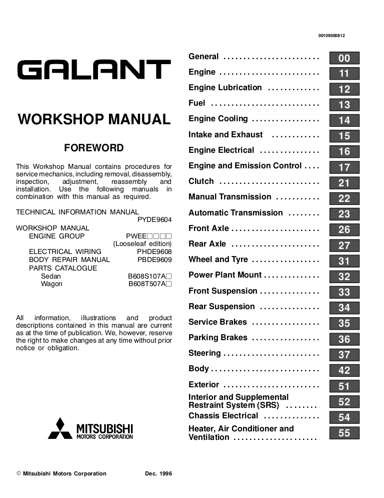 download MITSUBISHI GALANT 4G63 6A13 4D68 workshop manual