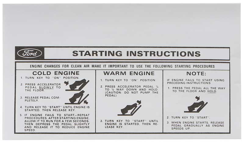 download Manifold Heater Instruction Tag Ford Passenger workshop manual