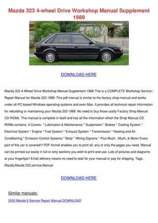 download Mazda 323 Supplement workshop manual