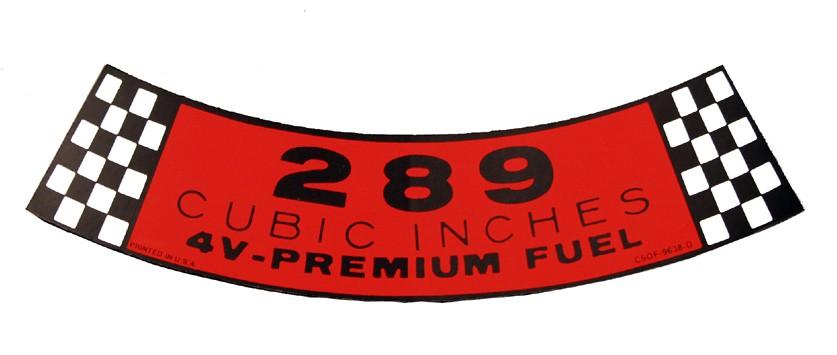 download Mustang Air Cleaner Decal 289 4V Premium Fuel workshop manual