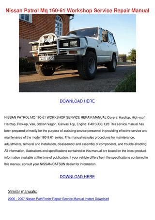download Nissan 160 61 workshop manual