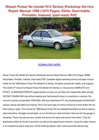 download Nissan NX workshop manual