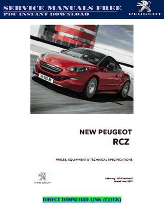 download PEUGEOT RCZ workshop manual