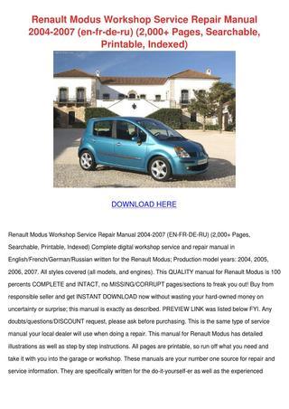 download Renault Modus workshop manual