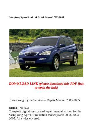 download SSANGYONG KYRON CAR workshop manual