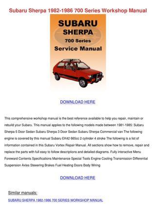 download SUBARU SHERPA 700 workshop manual