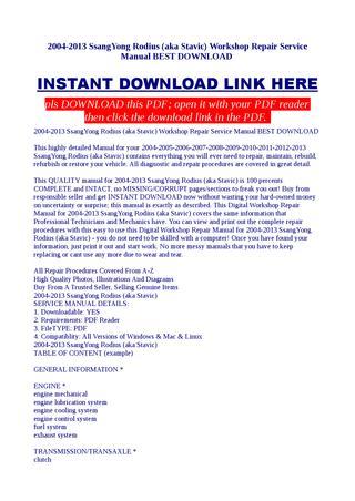 download SsangYong Rodius aka Stavic workshop manual