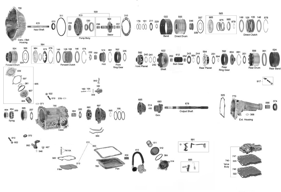 download Transmission Assembly C4 Automatic 750 HP Ford 1964 workshop manual